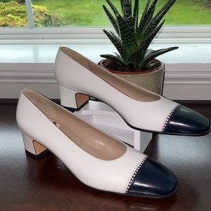 Salvatore Ferragamo white heels with black detail